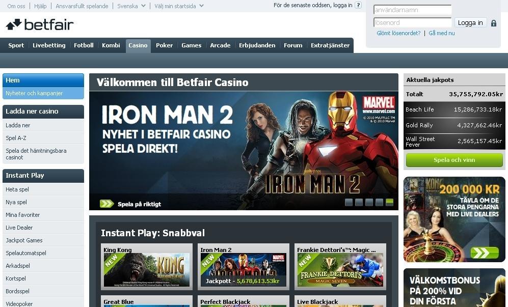 Spela på odds, sport och casinospel hos BetFair