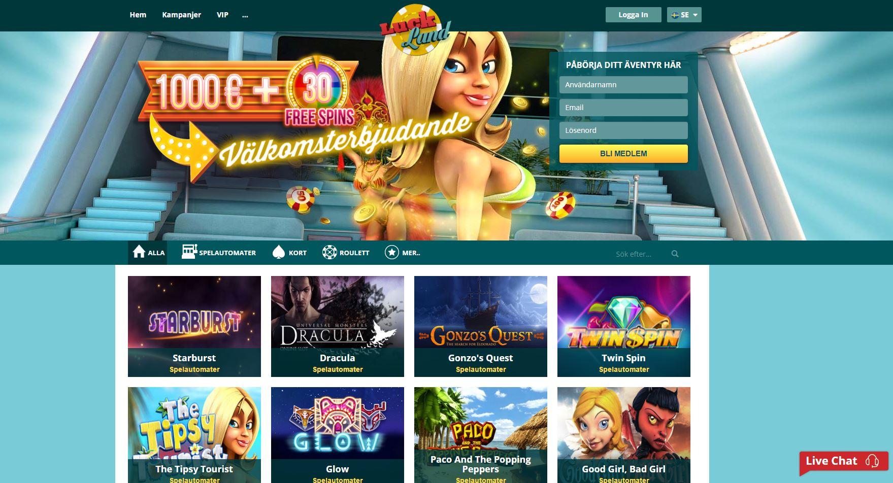 Spela i ett casinoäventyr med bonusar hos LuckLand