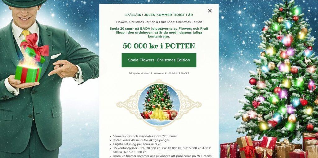 Julkalender kampanj hos Mr Green