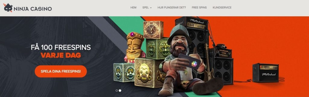 Ninja casino få 100 free spins varje dag