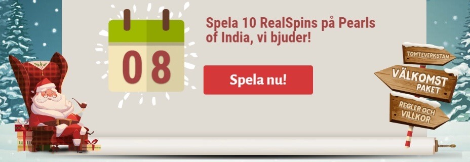 Instacasino julkalender gratis spinn till Pearls of India