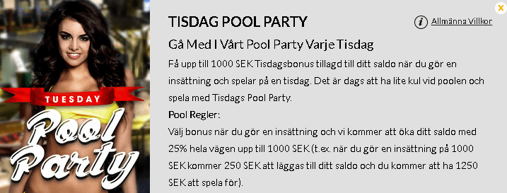 Casinocruise tisdagsbonus pool party