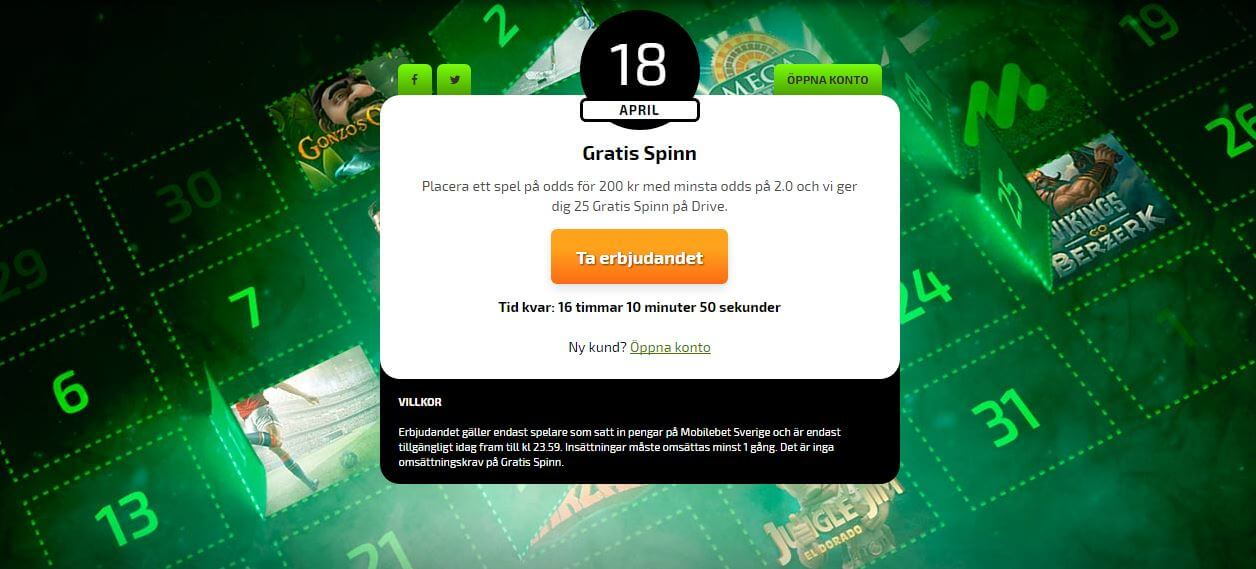 Placera ett spel och tjäna free spins idag hos Mobilebet
