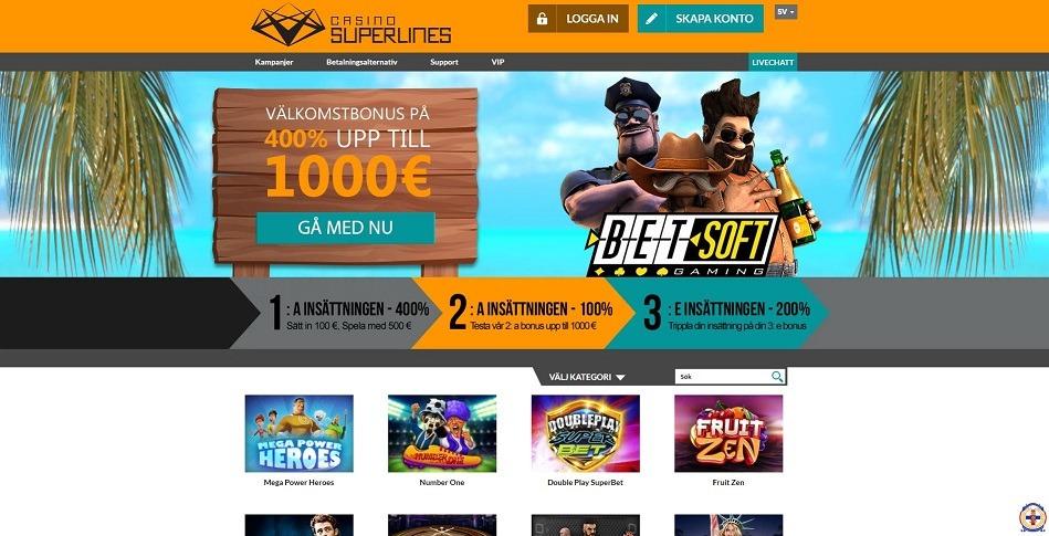 Spela med casinobonus hos Casino Superlines