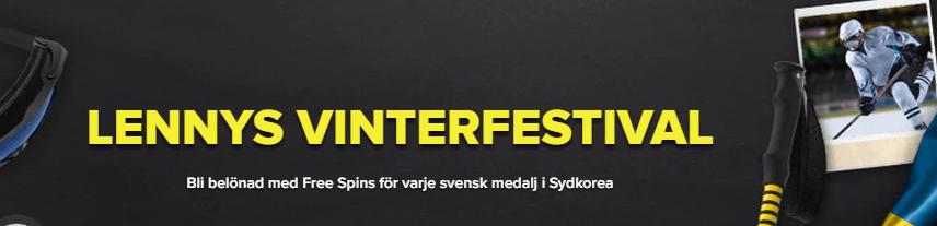 20 freespins hos SuperLenny för varje svensk OS-medalj