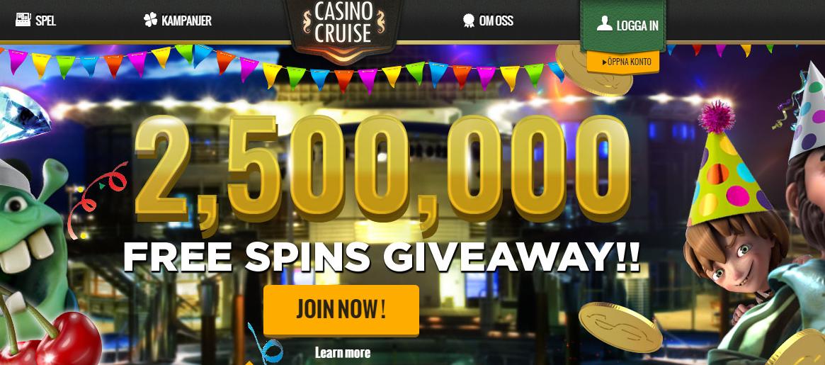 CasinoCruise delar ut massiva mängder free spins
